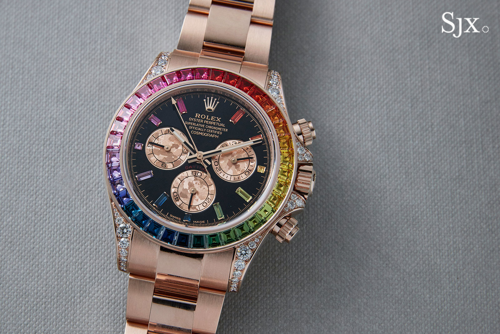 d10fc73690f Up Close With The Rolex Replica Daytona Rainbow In Everose. Quality Rolex  Daytona Rose Gold Chagne Dial ...